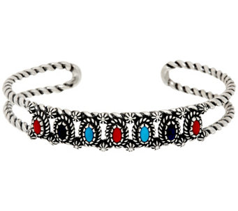 Sterling Silver Multi-Gemstone Cuff Bracelet by American West - J331387