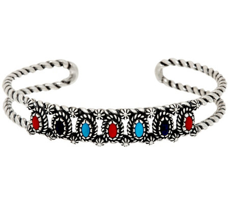 Sterling Silver Multi-Gemstone Cuff Bracelet by American West