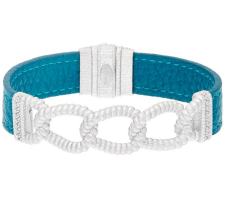 """As Is"" Judith Ripka Sterling Curb Link Teal Leather Bracelet"
