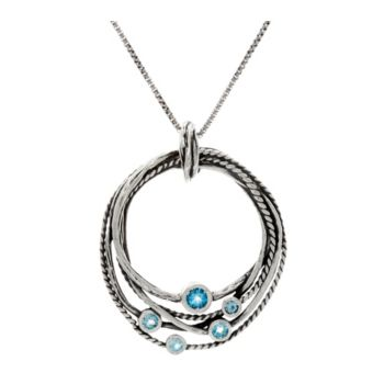 Sterling Silver Multi-Row Gemstone Pendant w/Chain by Or Paz