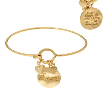 Goldtone Inspirational Quote Multi-Charm Bangle - J333687