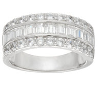 Diamonique Round and Baguette Band Ring, Platinum Clad