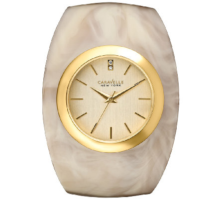 Caravelle New York Women's Goldtone Glossy HornBangle Watch