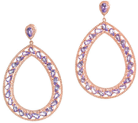 Graziela Gems Tanzanite Pear-Shape Earrings, Sterling/18K Ros