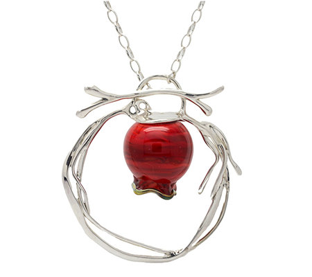 Kalos by Hagit Sterling Pomegranate Glass Pendant & Necklace