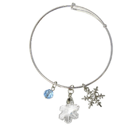 Catherine Galasso Crystal Snowflake Bangle Bracelet