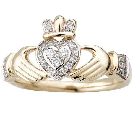 Solvar 1/7cttw Diamond Claddagh Ring, 14K Gold