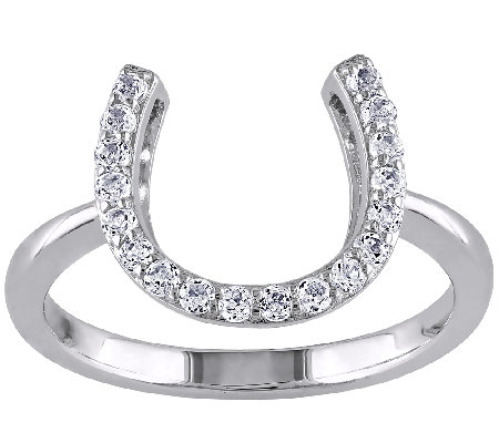1/2cttw White Topaz Horseshoe Ring, Sterling