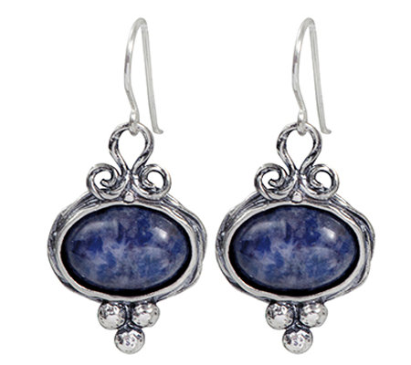 Or Paz Sterling Sodalite Cabochon Dangle Earrings
