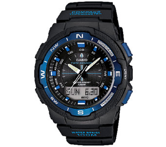 Casio Men's Twin Sensor Analog-Digital Blue Accented Watch - J338587