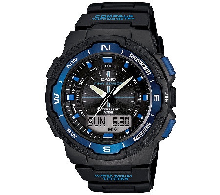 Casio Men's Twin Sensor Analog-Digital Blue Accented Watch