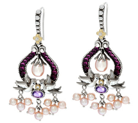 Barbara Bixby Sterling /18K Gemstone andPearl Earrings