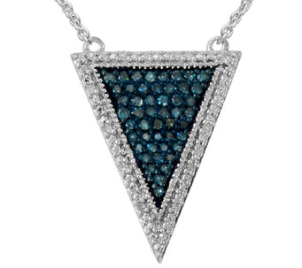 Blue Diamond Triangle Pendant, 1/4 cttw, Sterling, by Affinity - J339387