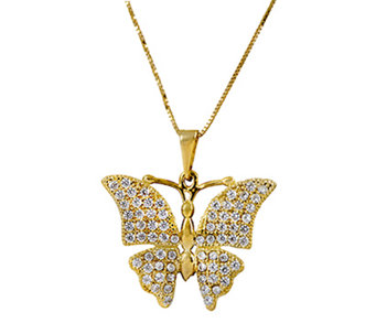 "14K Gold Crystal Butterfly Pendant w/ 18""L Chain by Adi Paz - J339487"