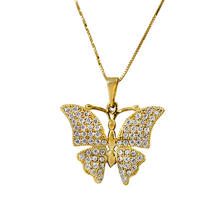 "14K Gold Crystal Butterfly Pendant w/ 18""L Chain by Adi Paz"