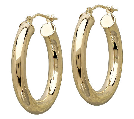 "EternaGold 1"" Polished Tube Hoop Earrings, 14KGold"