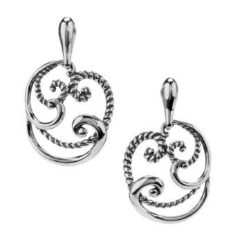 Carolyn Pollack Signature Sterling Round Swir lDrop Earrings