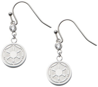 Star Wars Stainless Steel Galactic Empire Dangle Earrings - J342687