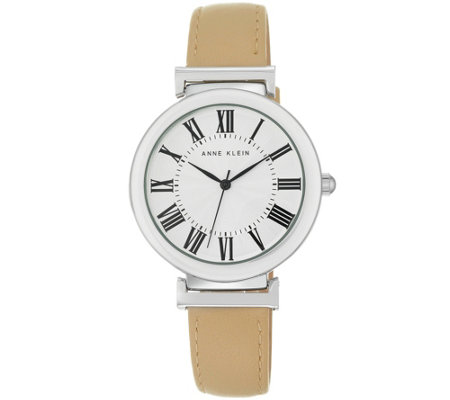 Anne Klein Women's Beige Leather Casual Watch