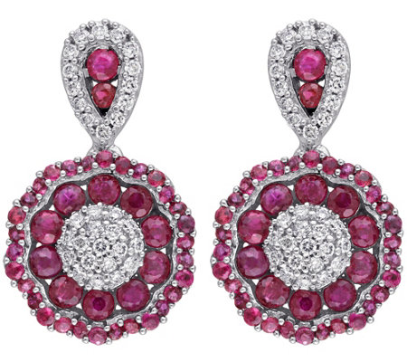 1.50 cttw Ruby & 1/4 cttw Diamond Dangle Earrings, 14K