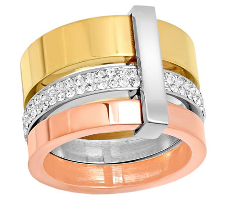 Stainless Steel Tri-Color Crystal Ring