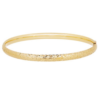 "EternaGold 7"" Crystal Cut Bangle, 14K - J344687"