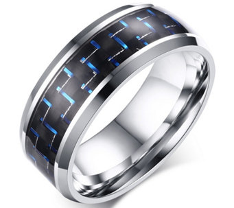 Forza Men's Stainless Black & Blue Carbon FiberRing - J344987