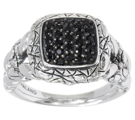 JAI Sterling Silver Pave Gemstone Croco Texture Ring