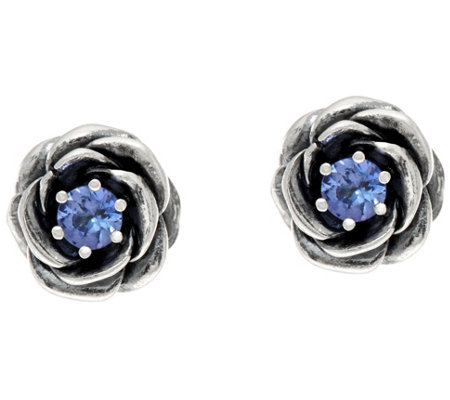 Or Paz Sterling Silver Tanzanite Rose Earrings