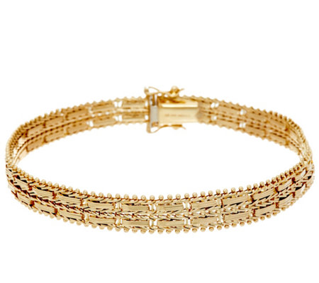 "Imperial Gold 7-1/4"" Mirror Bar Bracelet, 14K, 17.4g"