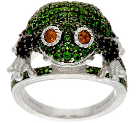 Judith Ripka Sterling Silver Gemstone Frieda Frog Ring, 2.60 cttw