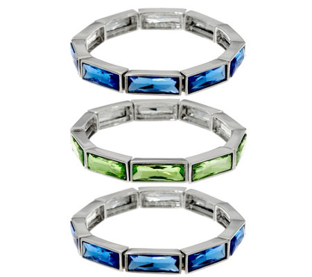 """As Is"" Isaac Mizrahi Live! Set of 3 Crystal Stretch Bracelets"