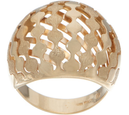 14K Gold Domed Satin Finish Ring