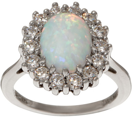 Diamonique and Simulated Opal Halo Ring, Sterling