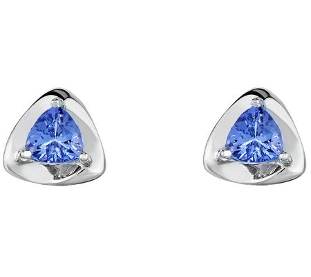 Sterling 0.60 cttw Trillion Cut Tanzanite Earrings