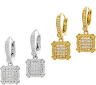 Judith Ripka Sterling or 14K Clad Pave DMQ Earrings