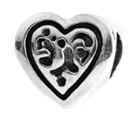 Prerogatives Sterling Openwork Heart Bead