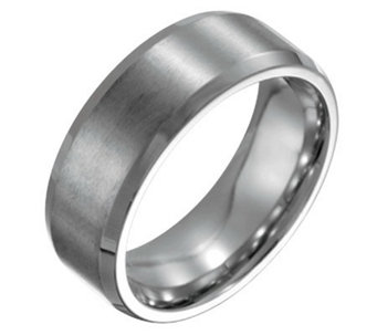 Forza Men's 8mm Steel w/ Beveled Edge BrushedPolished Ring - J109488