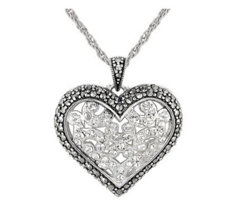 Suspicion Sterling Marcasite and Crystal HeartPendant w/Chain - J112488