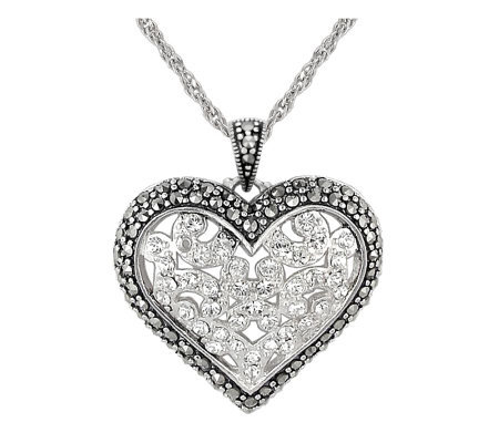 Suspicion Sterling Marcasite and Crystal HeartPendant w/Chain