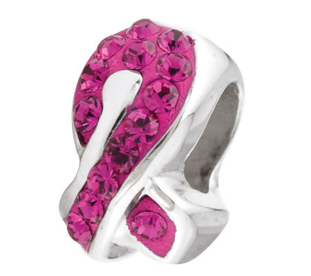 Prerogatives Sterling Fuchsia Crystal AwarenessRibbon Bead