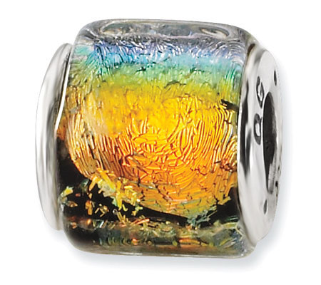 Prerogatives Sterling Rainbow Dichroic Glass Square Bead