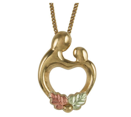 Black Hills Mother and Child Heart Pendant, 10K /12K Gold