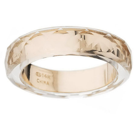 Band Ring with Faceted Crystal Quartz Overlay 14K Gold Page 1