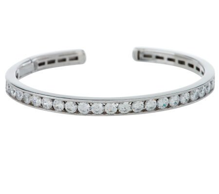 Epiphany Diamonique Channel Set Hinged Cuff Bracelet