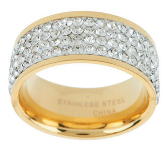 Stainless Steel Silk Fit Yellow Gold Crystal Band Ring - J267888