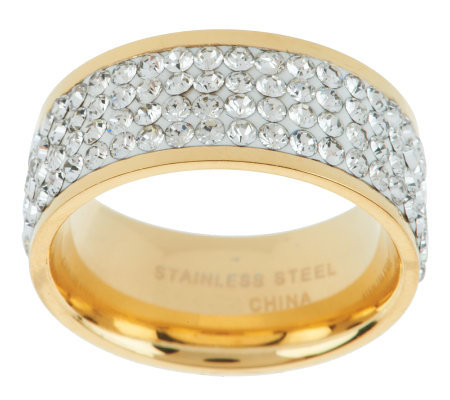Stainless Steel Silk Fit Yellow Gold Crystal Band Ring