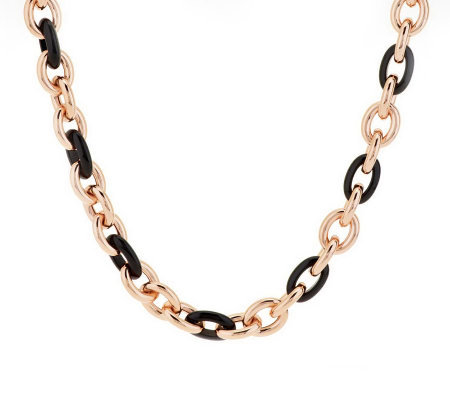 "Bronze 20"" Gemstone Rolo Link Necklace by Bronzo Italia"