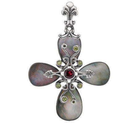Carolyn Pollack Mother-of-Pearl and Gemstone Sterling Cross Enhancer