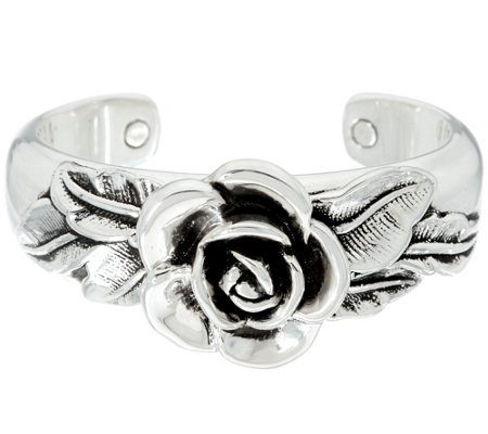 Sterling Silver Bold Rose Cuff by Or Paz